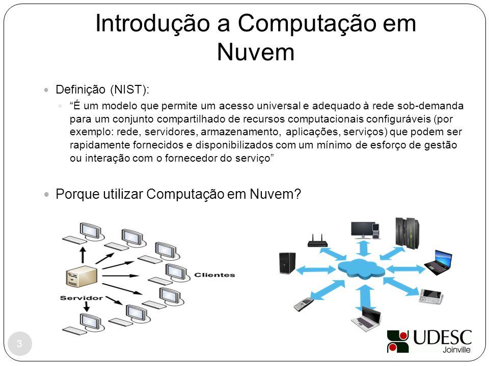 """Introdução a Computação em Nuvem Definição (NIST): """"É um modelo que permite um acesso universal e adequado à rede sob-demanda para um conjunto compart"""