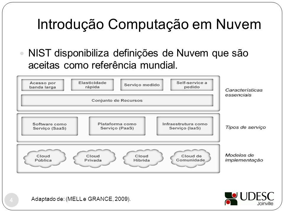Introdução Computação em Nuvem NIST disponibiliza definições de Nuvem que são aceitas como referência mundial. Adaptado de: (MELL e GRANCE, 2009). 4