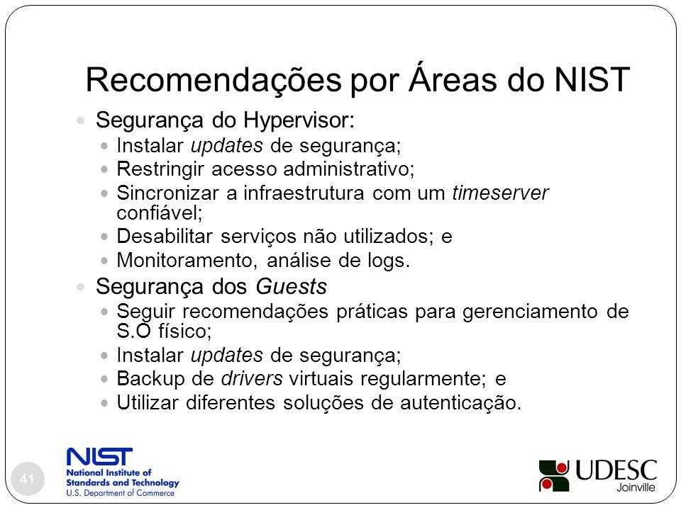 Recomendações por Áreas do NIST 41 Segurança do Hypervisor: Instalar updates de segurança; Restringir acesso administrativo; Sincronizar a infraestrut