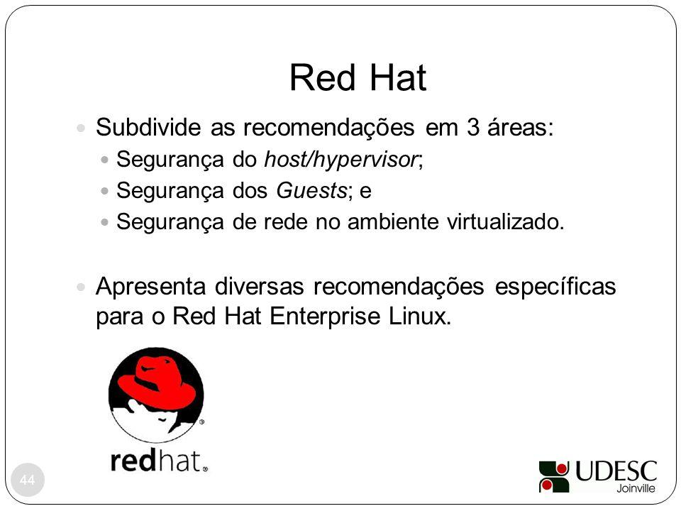 Red Hat 44 Subdivide as recomendações em 3 áreas: Segurança do host/hypervisor; Segurança dos Guests; e Segurança de rede no ambiente virtualizado. Ap