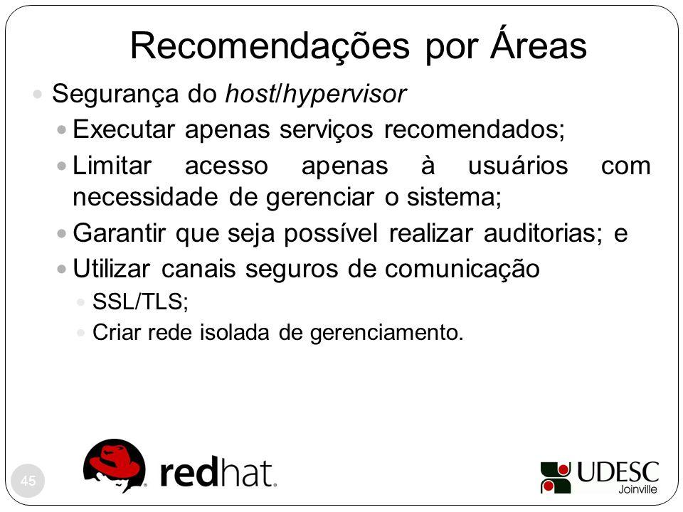Recomendações por Áreas 45 Segurança do host/hypervisor Executar apenas serviços recomendados; Limitar acesso apenas à usuários com necessidade de ger
