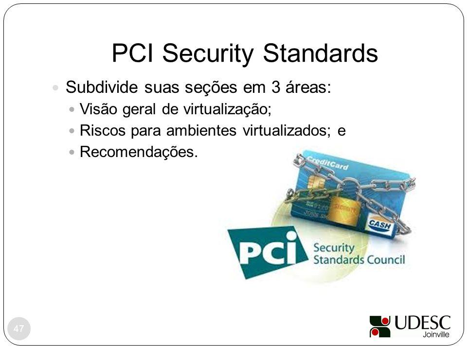 PCI Security Standards 47 Subdivide suas seções em 3 áreas: Visão geral de virtualização; Riscos para ambientes virtualizados; e Recomendações.