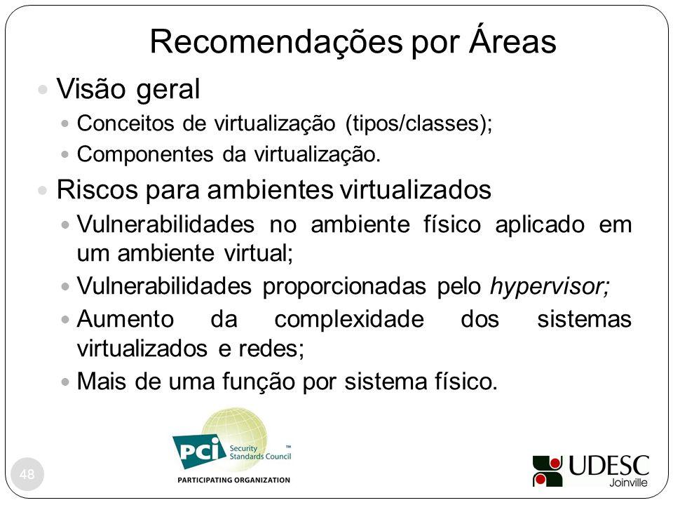 48 Visão geral Conceitos de virtualização (tipos/classes); Componentes da virtualização. Riscos para ambientes virtualizados Vulnerabilidades no ambie