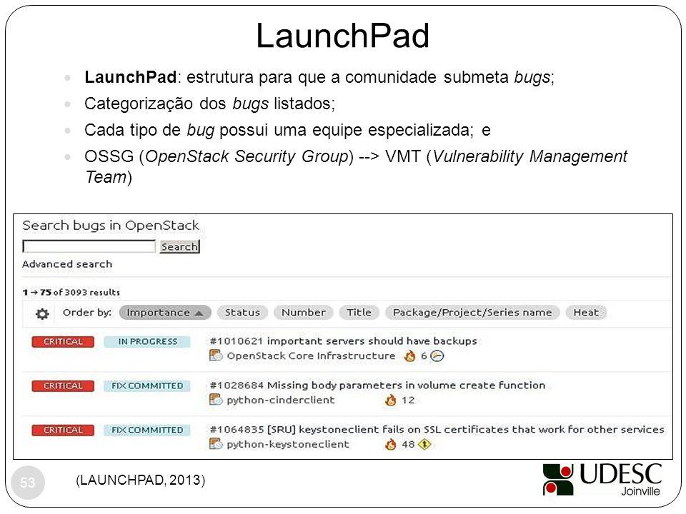LaunchPad (LAUNCHPAD, 2013) LaunchPad: estrutura para que a comunidade submeta bugs; Categorização dos bugs listados; Cada tipo de bug possui uma equi