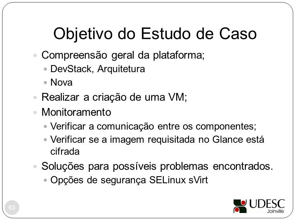 Objetivo do Estudo de Caso 63 Compreensão geral da plataforma; DevStack, Arquitetura Nova Realizar a criação de uma VM; Monitoramento Verificar a comu