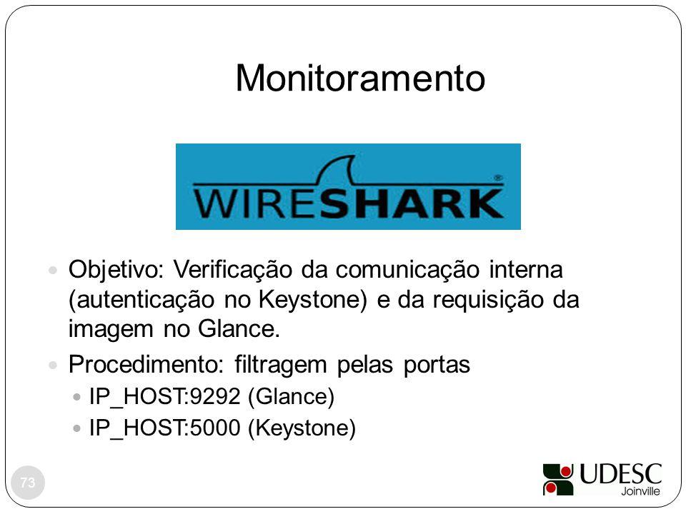 Monitoramento 73 Objetivo: Verificação da comunicação interna (autenticação no Keystone) e da requisição da imagem no Glance. Procedimento: filtragem
