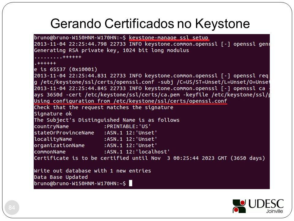 Gerando Certificados no Keystone 84