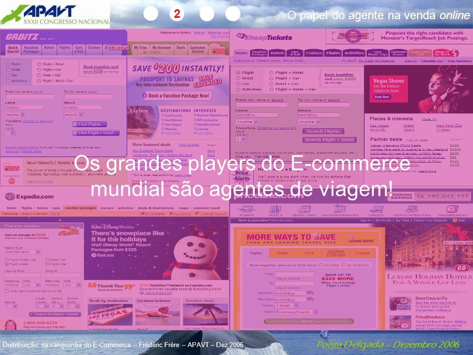 Ponta Delgada – Dezembro 2006 Distribuição: na vanguardia do E-Commerce – Frédéric Frère – APAVT – Dez.2006 O papel do agente na venda online 2 Os grandes players do E-commerce mundial são agentes de viagem!