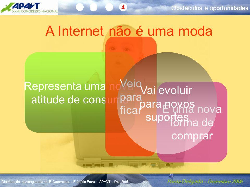 Ponta Delgada – Dezembro 2006 Distribuição: na vanguardia do E-Commerce – Frédéric Frère – APAVT – Dez.2006 4 A Internet não é uma moda Representa uma