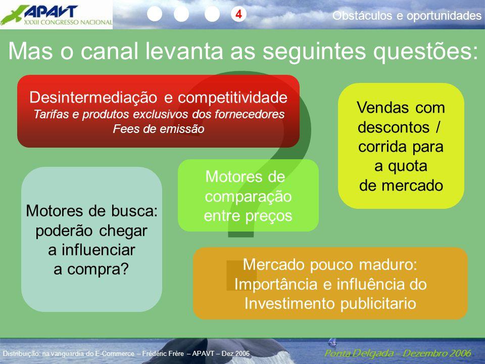 Ponta Delgada – Dezembro 2006 Distribuição: na vanguardia do E-Commerce – Frédéric Frère – APAVT – Dez.2006 4 ? Mas o canal levanta as seguintes quest