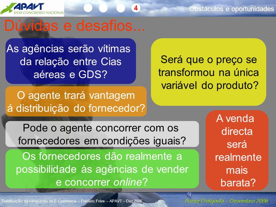Ponta Delgada – Dezembro 2006 Distribuição: na vanguardia do E-Commerce – Frédéric Frère – APAVT – Dez.2006 Dúvidas Dúvidas e desafios... O agente tra