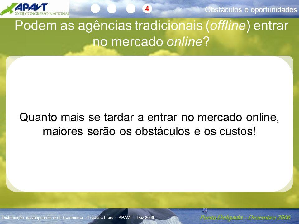Ponta Delgada – Dezembro 2006 Distribuição: na vanguardia do E-Commerce – Frédéric Frère – APAVT – Dez.2006 Obstáculos e oportunidades 4 Podem as agên