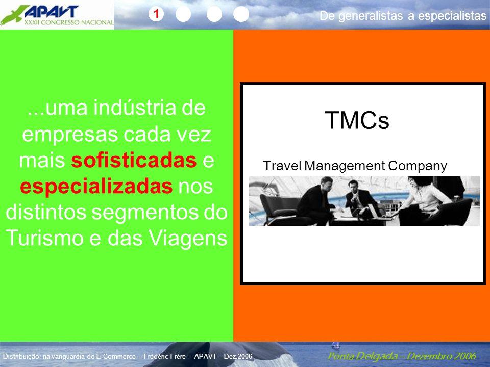 Ponta Delgada – Dezembro 2006 Distribuição: na vanguardia do E-Commerce – Frédéric Frère – APAVT – Dez.2006...uma indústria de empresas cada vez mais sofisticadas e especializadas nos distintos segmentos do Turismo e das Viagens Travel Management Company TMCs 1 De generalistas a especialistas