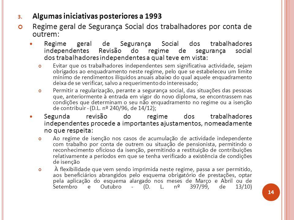 3. Algumas iniciativas posteriores a 1993 Regime geral de Segurança Social dos trabalhadores por conta de outrem: Regime geral de Segurança Social dos