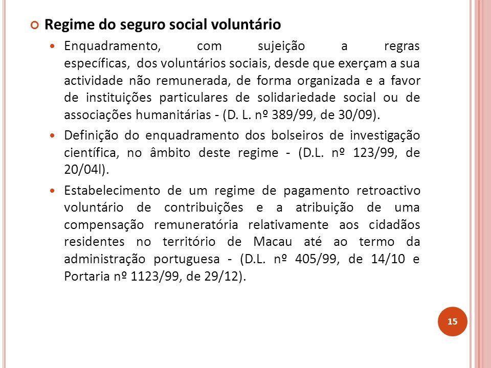 Regime do seguro social voluntário Enquadramento, com sujeição a regras específicas, dos voluntários sociais, desde que exerçam a sua actividade não remunerada, de forma organizada e a favor de instituições particulares de solidariedade social ou de associações humanitárias - (D.