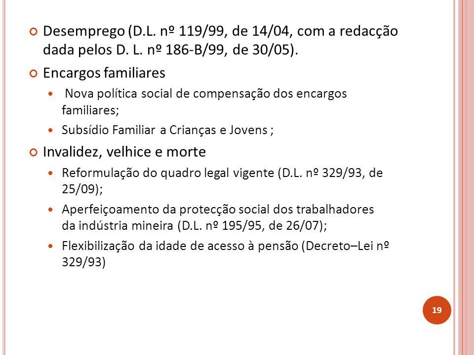 Desemprego (D.L.nº 119/99, de 14/04, com a redacção dada pelos D.
