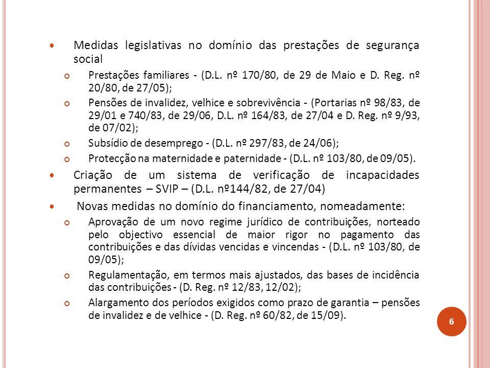Medidas legislativas no domínio das prestações de segurança social Prestações familiares - (D.L.