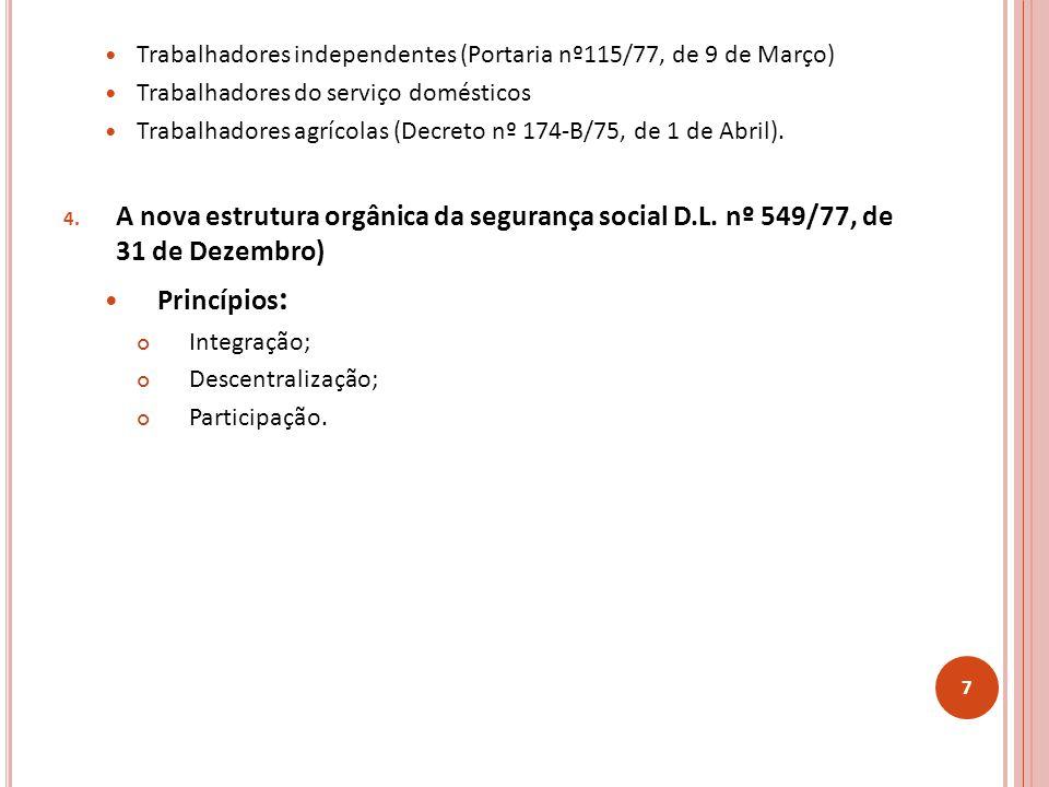 Trabalhadores independentes (Portaria nº115/77, de 9 de Março) Trabalhadores do serviço domésticos Trabalhadores agrícolas (Decreto nº 174-B/75, de 1 de Abril).