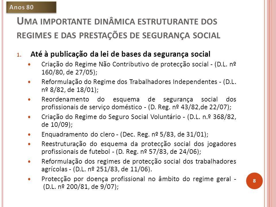 U MA IMPORTANTE DINÂMICA ESTRUTURANTE DOS REGIMES E DAS PRESTAÇÕES DE SEGURANÇA SOCIAL 1.