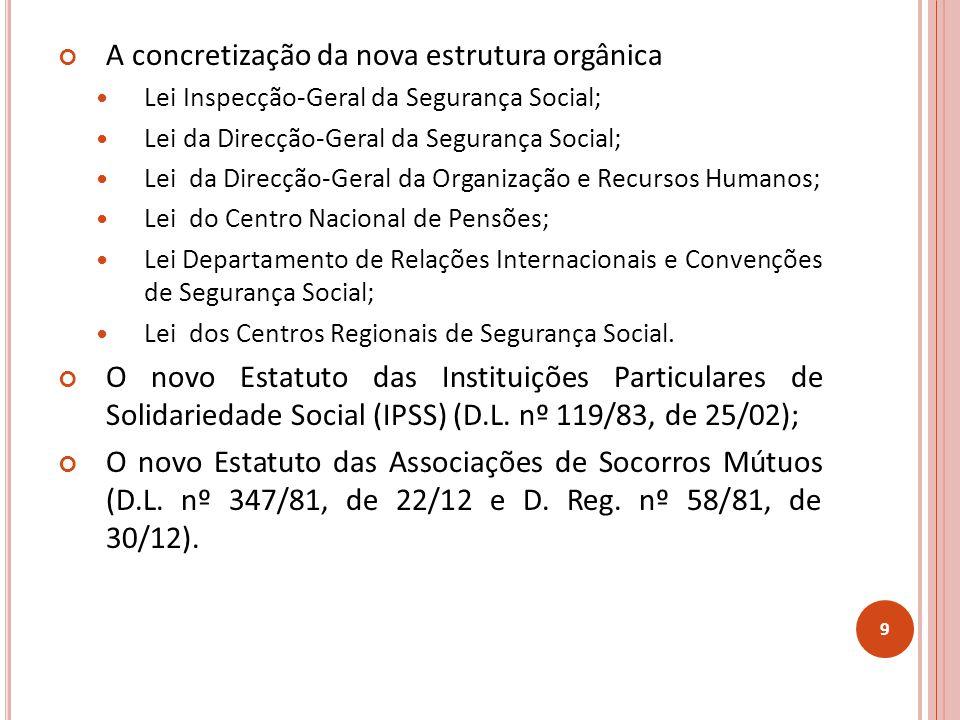 A concretização da nova estrutura orgânica Lei Inspecção-Geral da Segurança Social; Lei da Direcção-Geral da Segurança Social; Lei da Direcção-Geral da Organização e Recursos Humanos; Lei do Centro Nacional de Pensões; Lei Departamento de Relações Internacionais e Convenções de Segurança Social; Lei dos Centros Regionais de Segurança Social.