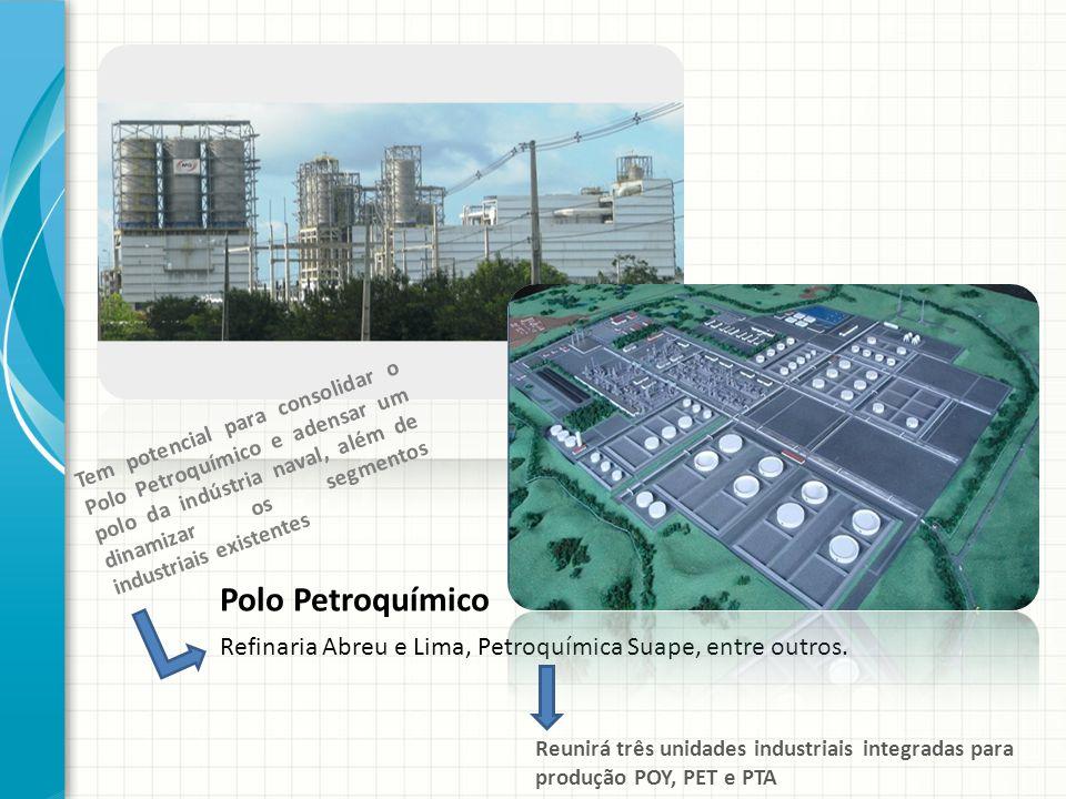 Polo Petroquímico Refinaria Abreu e Lima, Petroquímica Suape, entre outros. Tem potencial para consolidar o Polo Petroquímico e adensar um polo da ind