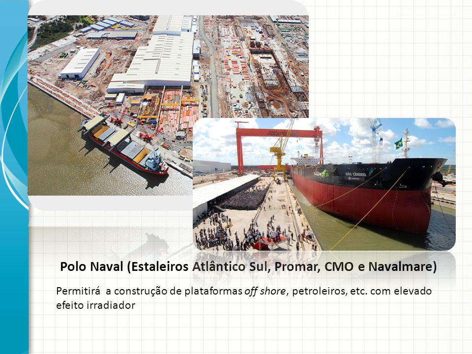 Polo Naval (Estaleiros Atlântico Sul, Promar, CMO e Navalmare) Permitirá a construção de plataformas off shore, petroleiros, etc. com elevado efeito i