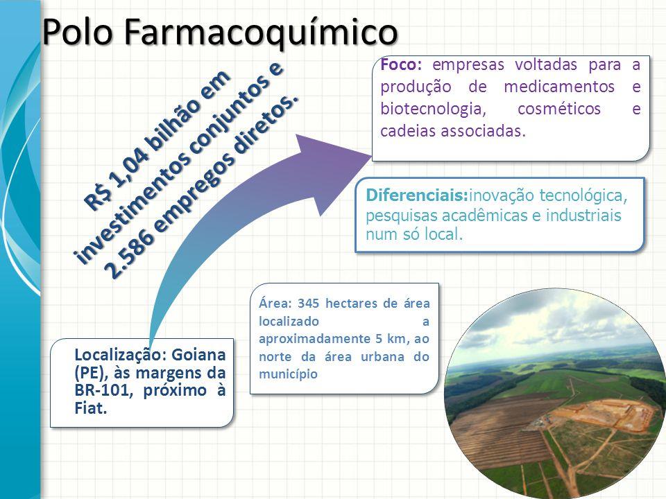 Localização: Goiana (PE), às margens da BR-101, próximo à Fiat. Foco: empresas voltadas para a produção de medicamentos e biotecnologia, cosméticos e