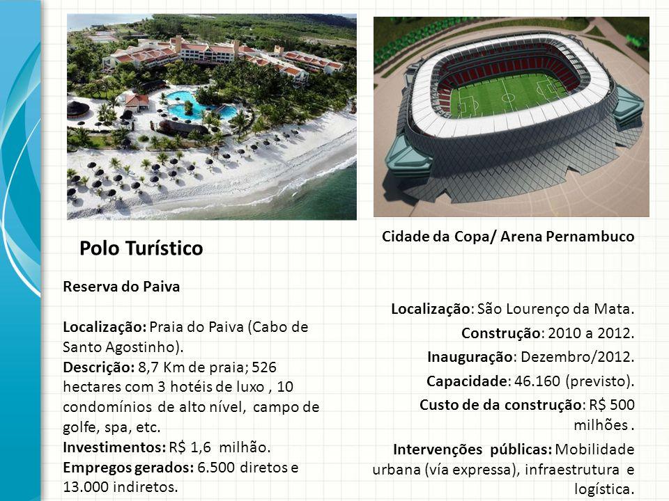 Polo Turístico Cidade da Copa/ Arena Pernambuco Localização: São Lourenço da Mata. Construção: 2010 a 2012. Inauguração: Dezembro/2012. Capacidade: 46