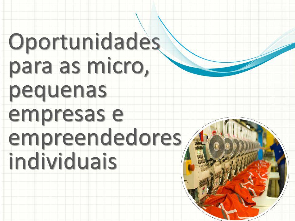 Oportunidades para as micro, pequenas empresas e empreendedores individuais