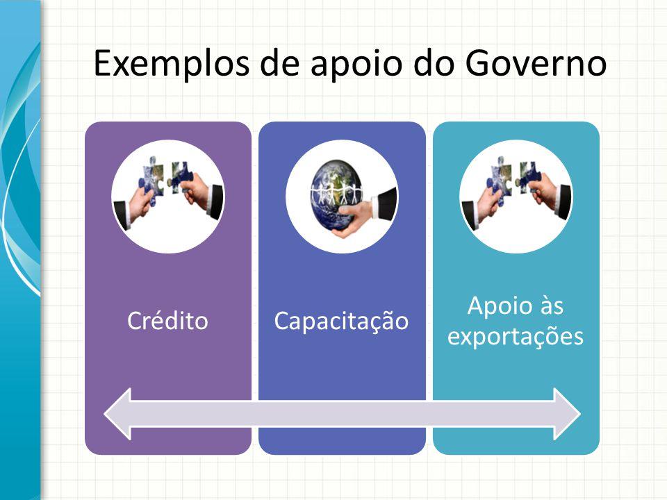 Exemplos de apoio do Governo CréditoCapacitação Apoio às exportações