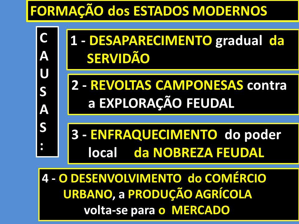 1 - DESAPARECIMENTO gradual da SERVIDÃO 3 - ENFRAQUECIMENTO do poder local da NOBREZA FEUDAL FORMAÇÃO dos ESTADOS MODERNOS CAUSAS:CAUSAS: 2 - REVOLTAS