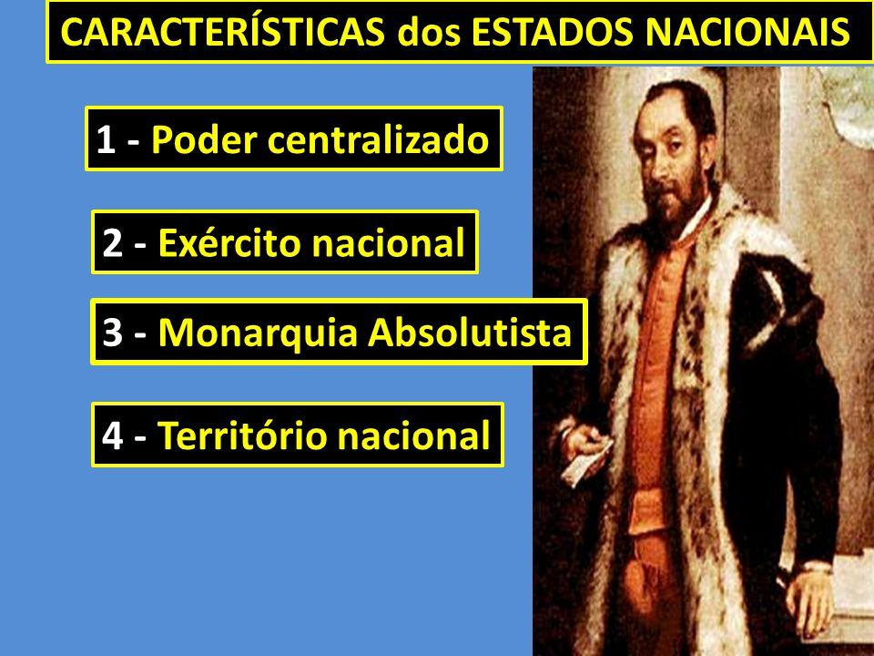 CARACTERÍSTICAS dos ESTADOS NACIONAIS 1 - Poder centralizado 3 - Monarquia Absolutista 4 - Território nacional 2 - Exército nacional