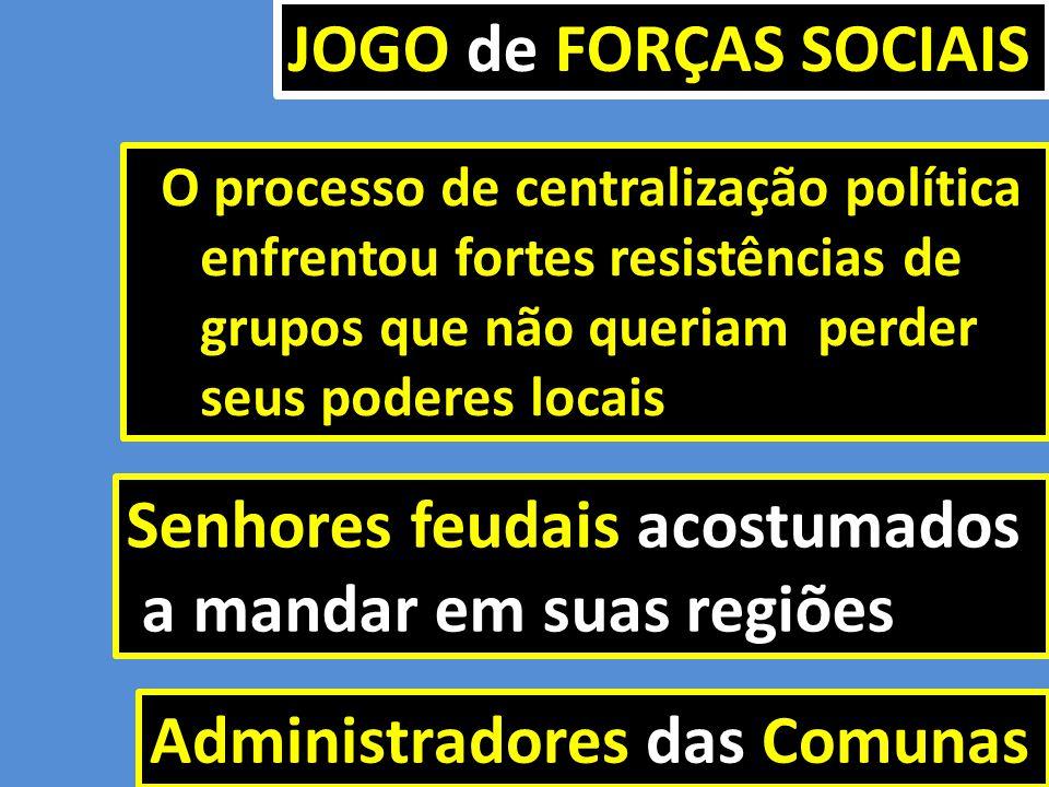 Senhores feudais acostumados a mandar em suas regiões a mandar em suas regiões Administradores das Comunas O processo de centralização política O proc