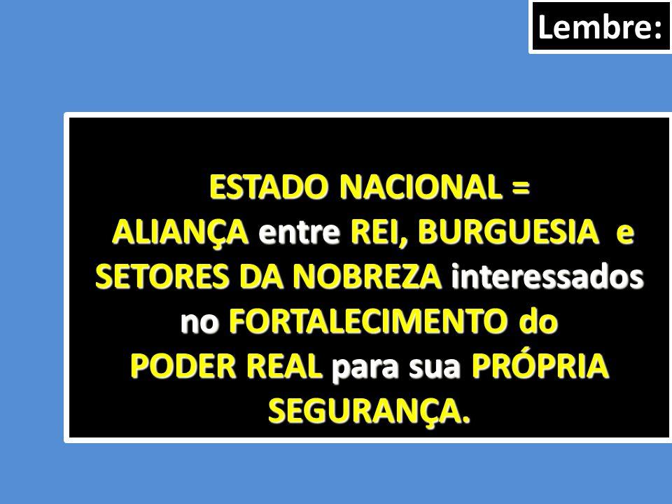 ESTADO NACIONAL = ALIANÇA entre REI, BURGUESIA e SETORES DA NOBREZA interessados no FORTALECIMENTO do PODER REAL para sua PRÓPRIA SEGURANÇA. ALIANÇA e