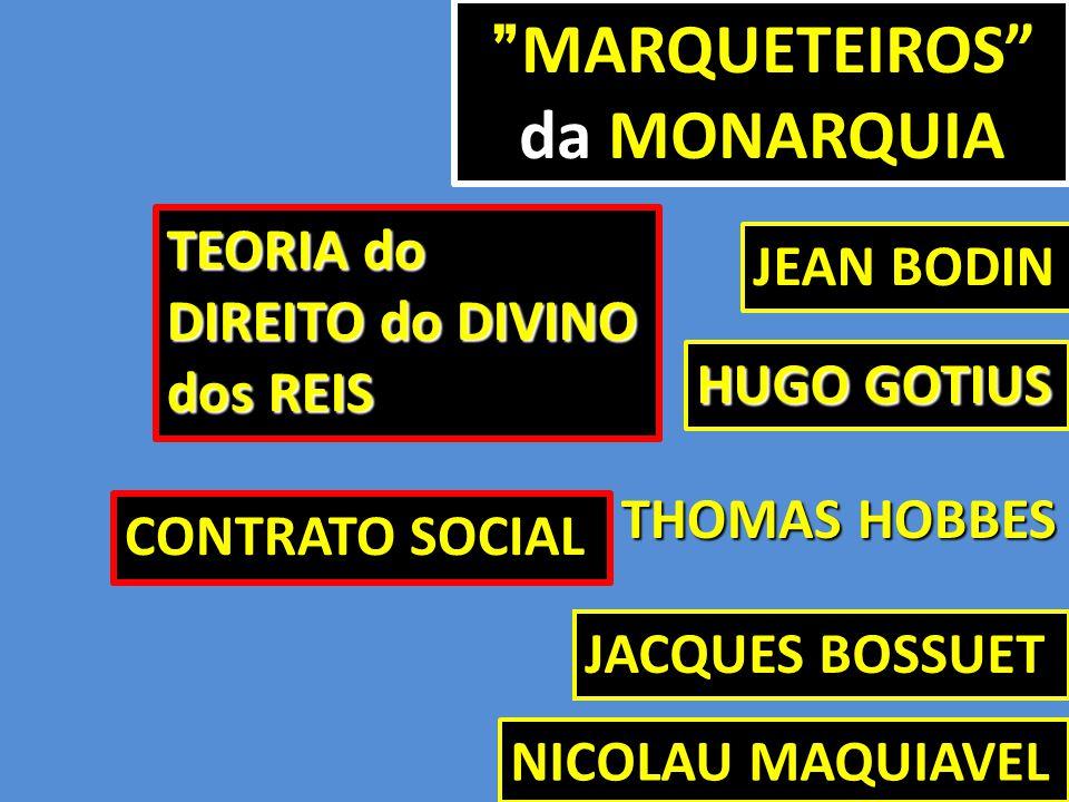 """MARQUETEIROS"""" da MONARQUIA """" MARQUETEIROS"""" da MONARQUIA HUGO GOTIUS JEAN BODIN JACQUES BOSSUET NICOLAU MAQUIAVEL TEORIA do DIREITO do DIVINO dos REIS"""