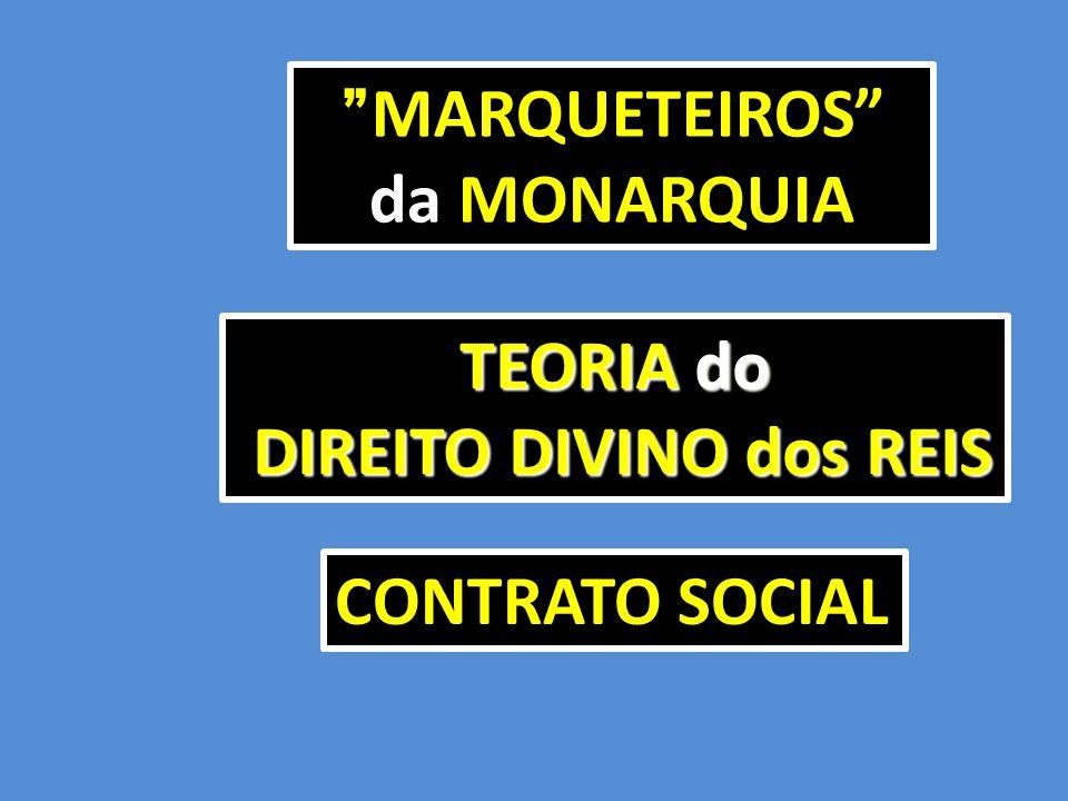 """MARQUETEIROS"""" da MONARQUIA """" MARQUETEIROS"""" da MONARQUIA TEORIA do DIREITO DIVINO dos REIS DIREITO DIVINO dos REIS CONTRATO SOCIAL"""