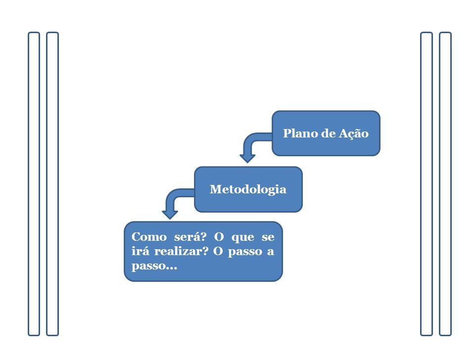 Plano de Ação Metodologia Como será? O que se irá realizar? O passo a passo...