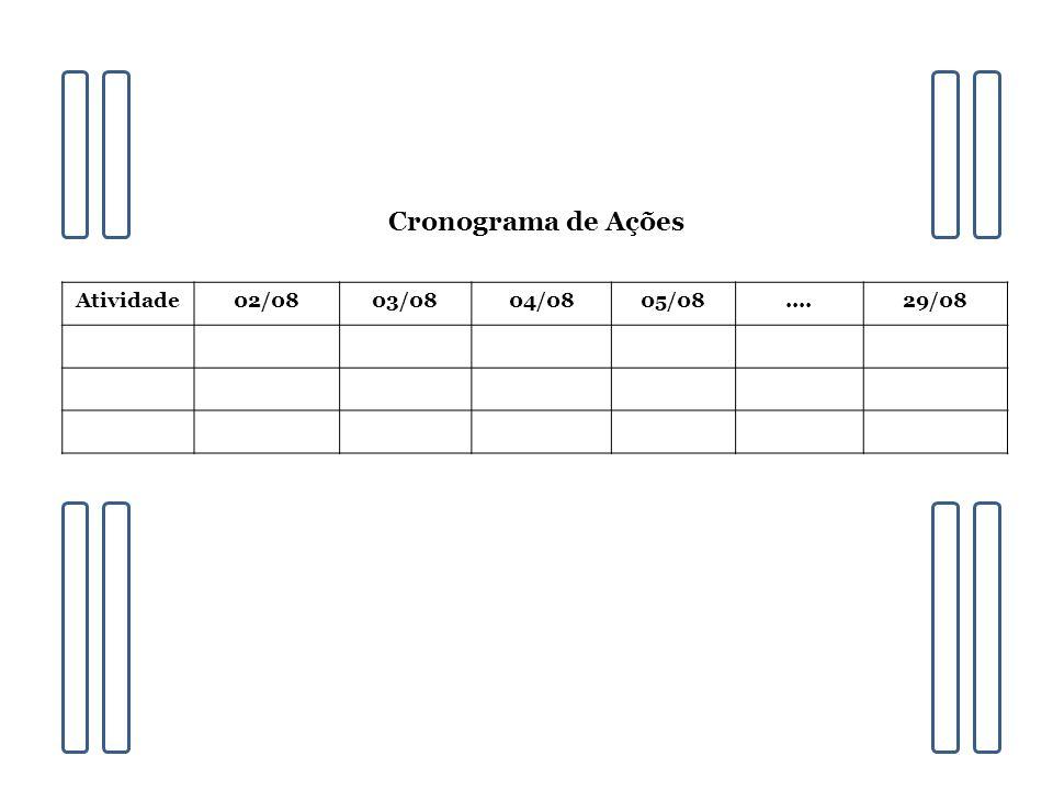 Atividade02/0803/0804/0805/08....29/08 Cronograma de Ações