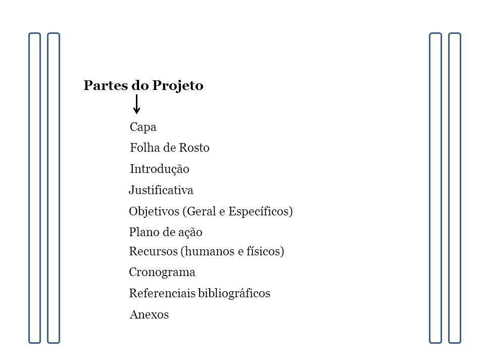 Partes do Projeto Capa Folha de Rosto Introdução Justificativa Objetivos (Geral e Específicos) Plano de ação Recursos (humanos e físicos) Cronograma Referenciais bibliográficos Anexos