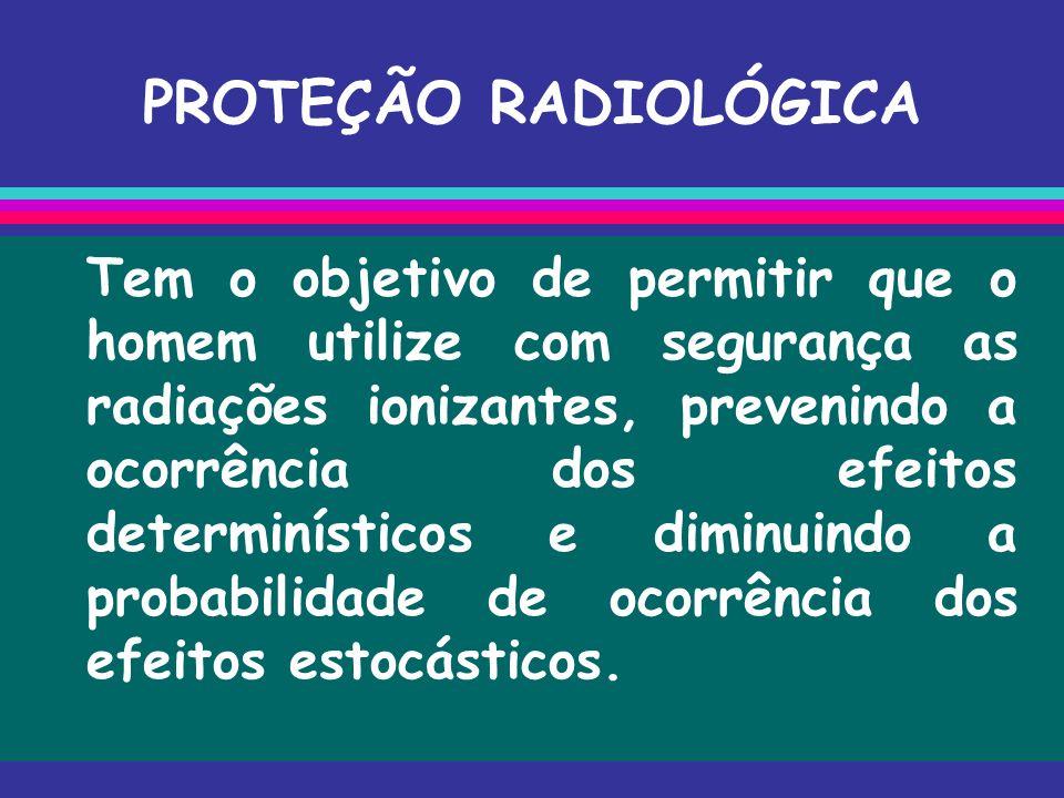 PROTEÇÃO RADIOLÓGICA Tem o objetivo de permitir que o homem utilize com segurança as radiações ionizantes, prevenindo a ocorrência dos efeitos determi