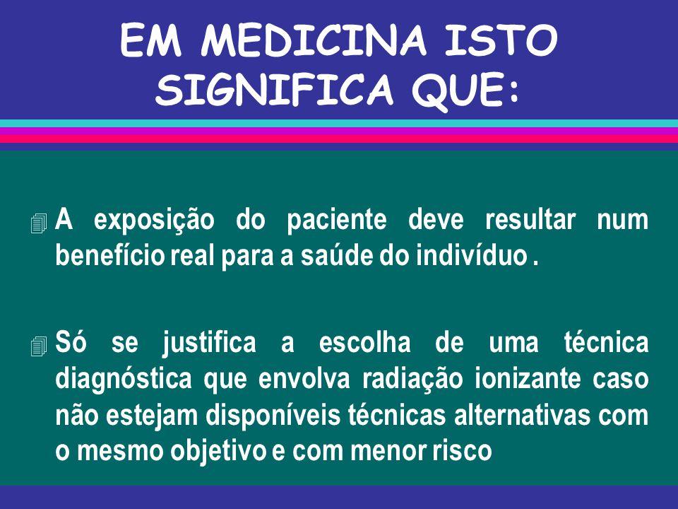 EM MEDICINA ISTO SIGNIFICA QUE: 4 A exposição do paciente deve resultar num benefício real para a saúde do indivíduo.  Só se justifica a escolha de u