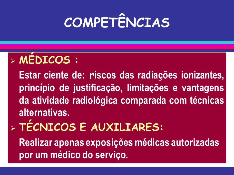 COMPETÊNCIAS  MÉDICOS : Estar ciente de: r iscos das radiações ionizantes, princípio de justificação, limitações e vantagens da atividade radiológica