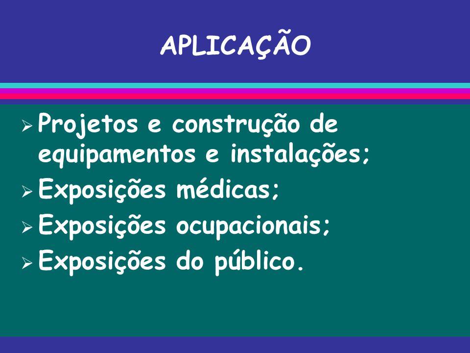 APLICAÇÃO  Projetos e construção de equipamentos e instalações;  Exposições médicas;  Exposições ocupacionais;  Exposições do público.