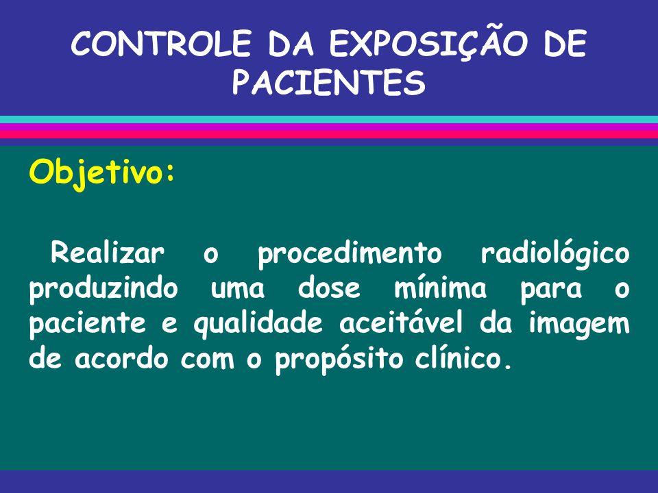 CONTROLE DA EXPOSIÇÃO DE PACIENTES Objetivo: Realizar o procedimento radiológico produzindo uma dose mínima para o paciente e qualidade aceitável da i