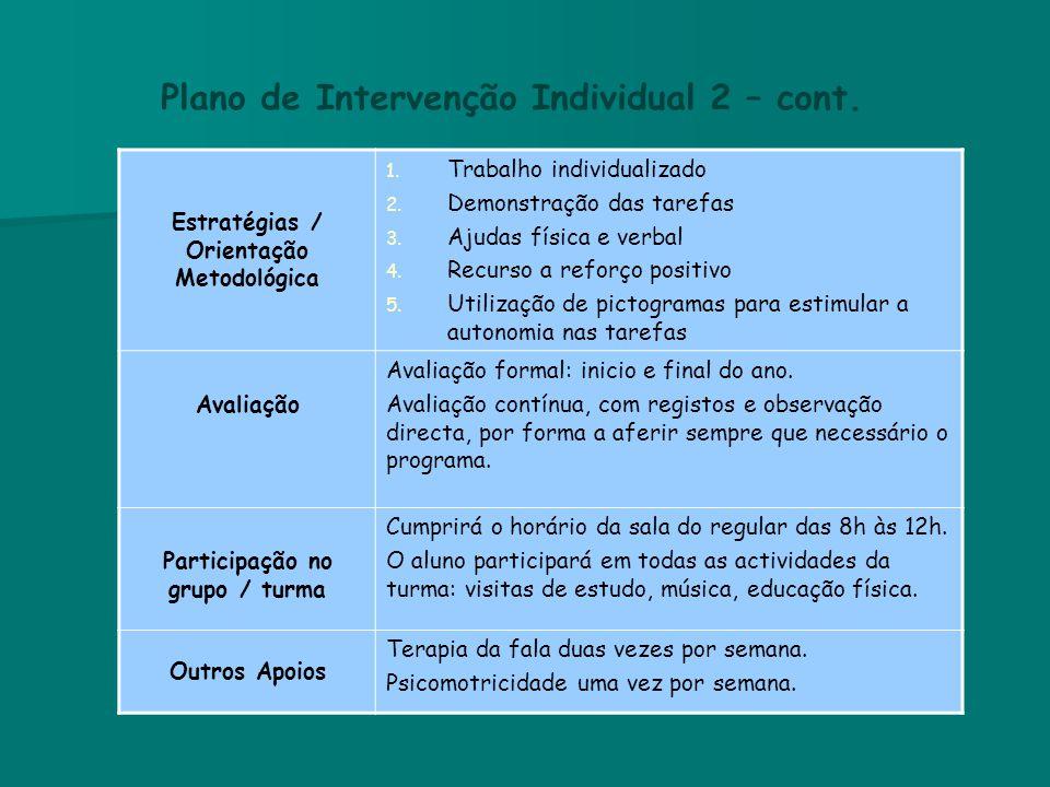 Plano de Intervenção Individual 2 – cont. Estratégias / Orientação Metodológica 1. Trabalho individualizado 2. Demonstração das tarefas 3. Ajudas físi
