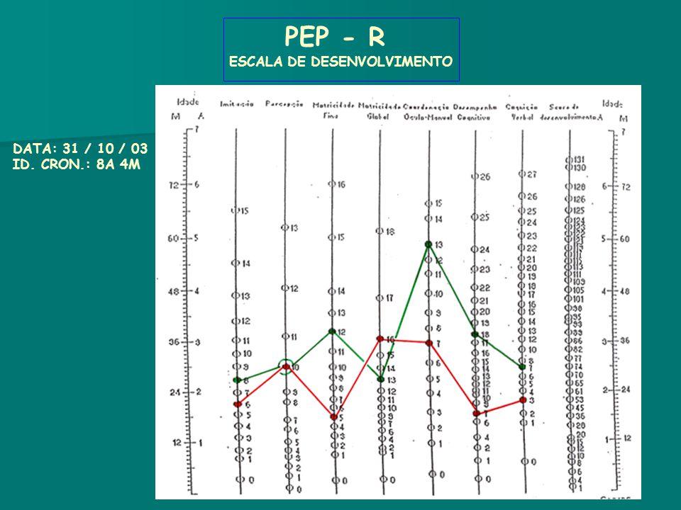 PEP - R ESCALA DE DESENVOLVIMENTO DATA: 31 / 10 / 03 ID. CRON.: 8A 4M