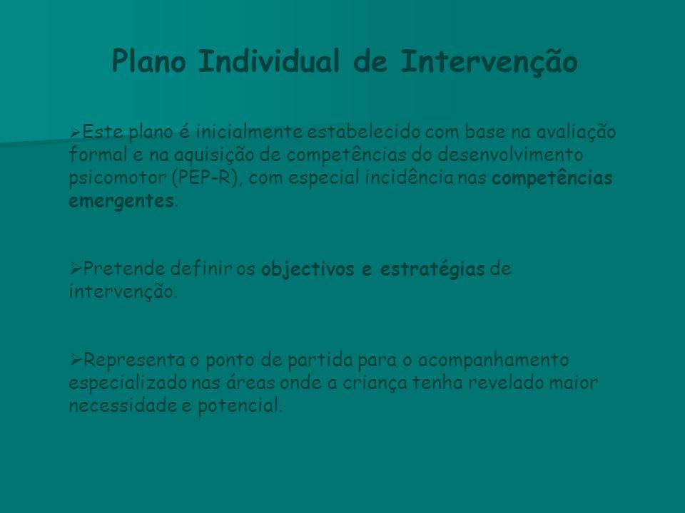 Plano Individual de Intervenção  Este plano é inicialmente estabelecido com base na avaliação formal e na aquisição de competências do desenvolviment
