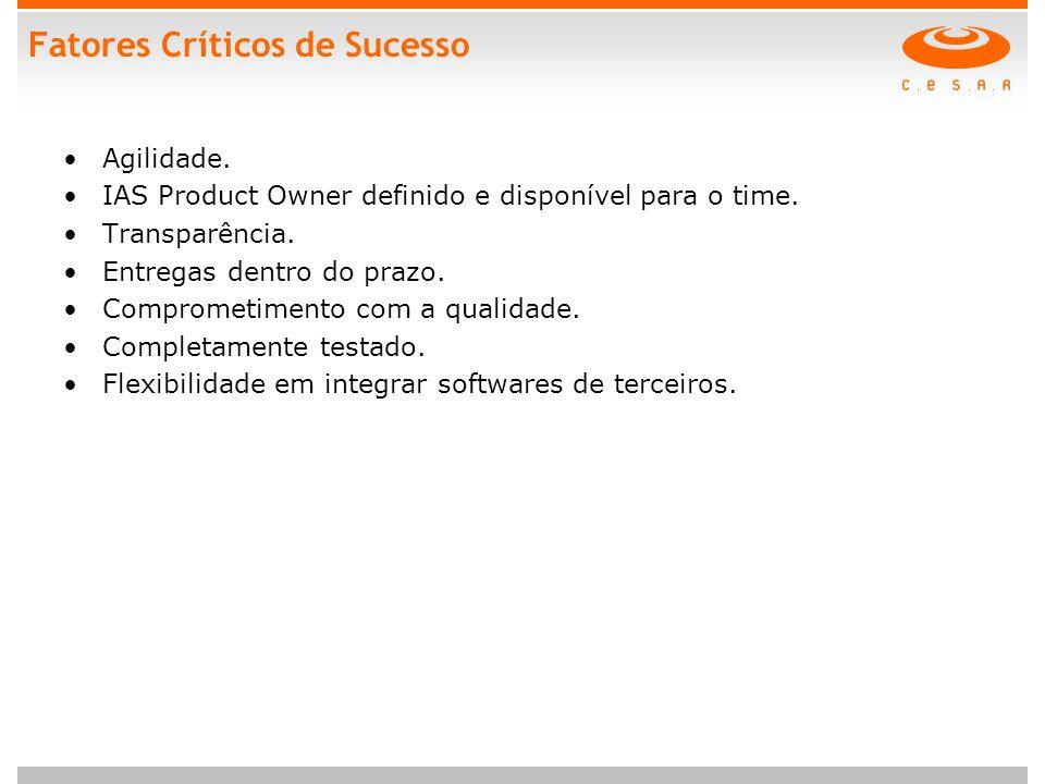 Fatores Críticos de Sucesso Agilidade.IAS Product Owner definido e disponível para o time.