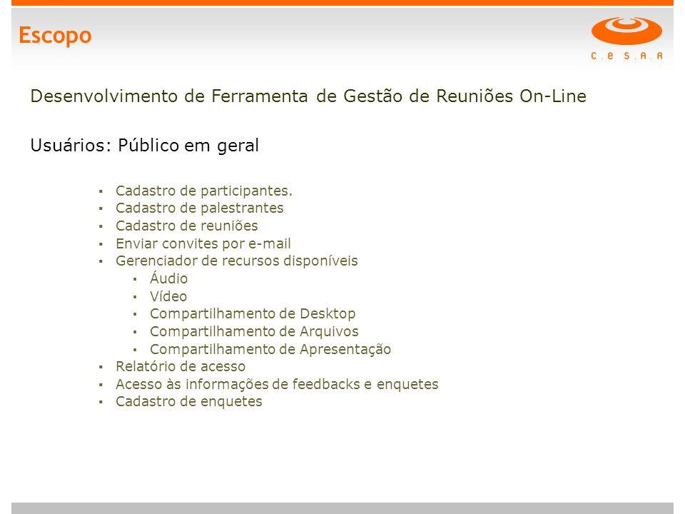 Escopo Desenvolvimento de Ferramenta de Gestão de Reuniões On-Line Usuários: Público em geral ▪ Cadastro de participantes.