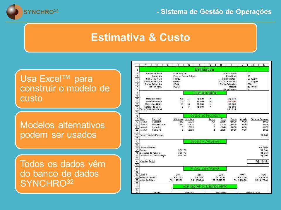 - Sistema de Gestão de Operações SYNCHRO 32 Estimativa & Custo Usa Excel™ para construir o modelo de custo Modelos alternativos podem ser usados Todos os dados vêm do banco de dados SYNCHRO 32